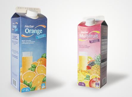 Design graphique et impression - packaging alimentaire brique de jus de fruit